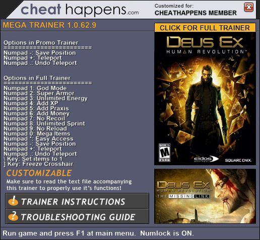 1Deus Ex Human Revolution Trainer