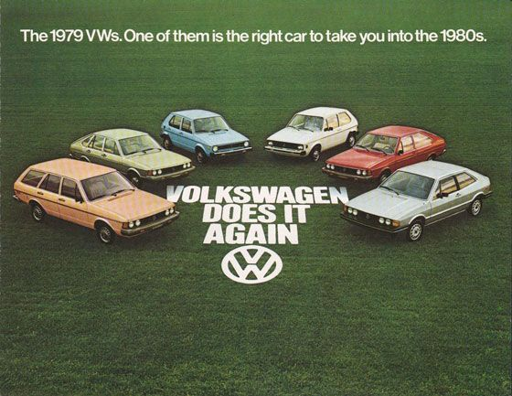 The 1979 VWs. One of them is the right car to take you into the 1980s. Volkswagen does it again.