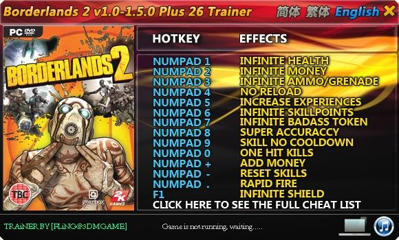 Borderlands 2 1.0-1.5.0 +26 Trainer [FliNG]
